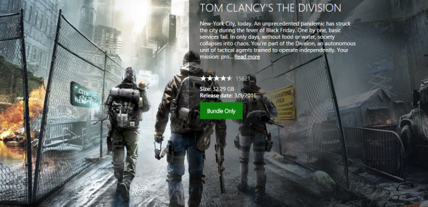 The Division Xbox One Size Revealed